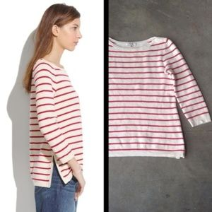 Madewell Seaside Side-Zip Sweater red white small
